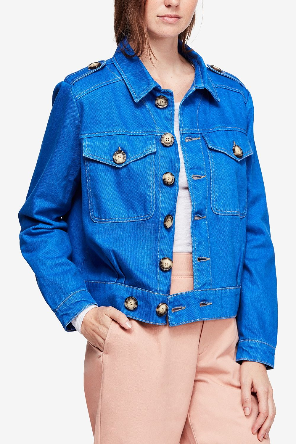 Free People Cotton Eisenhower Denim Jacket