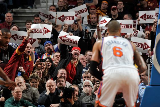 CLEVELAND, OH - JANUARY 25: Fans of the Cleveland Cavaliers attempt to impact the outcome of a free throw attempt by Tyson Chandler #6 of the New York Knicks at The Quicken Loans Arena on January 25, 2012 in Cleveland, Ohio. NOTE TO USER: User expressly acknowledges and agrees that, by downloading and/or using this Photograph, user is consenting to the terms and conditions of the Getty Images License Agreement. Mandatory Copyright Notice: Copyright 2012 NBAE (Photo by David Liam Kyle/NBAE via Getty Images)