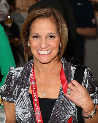U.S. Olympian Mary Lou Retton visits the USA House at the Royal College of Art on August 3, 2012 in London, England.