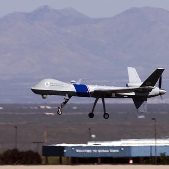 The new MQ-9 Predator B, an unmanned surveillance aircraft system, unveiled by the U.S. Customs and Border Protection (CBP), takes off at Libby Army Airfield at Ft. Huachuca October 30, 2006 in Sierra Vista, Arizona.
