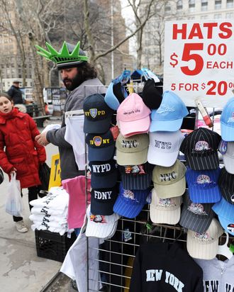 A street vendor sells hats and other items near Battery Park in lower Manhttan March 11, 2010 in New York.