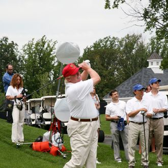 BRIARCLIFF MANOR, NY - JULY 14: Donald Trump attends the 2008 Joe Torre Safe at Home Foundation Golf Classic at Trump National Golf Club on July 14, 2008 in Briarcliff Manor, New York. (Photo by Rick Odell/Getty Images) *** Local Caption *** Donald Trump
