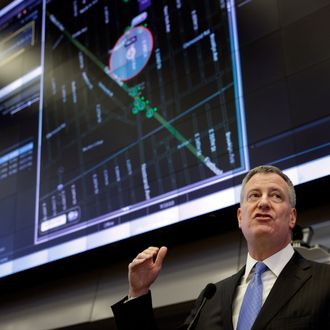 New York City Mayor Bill de Blasio speaks during a news conference at police headquarters in New York, Monday, March 16, 2015. De Blasio and police commissioner Bill Bratton were talking about Shotspotter, a new technology that the NYPD is using to detect gunfire throughout New York City. (AP Photo/Seth Wenig)
