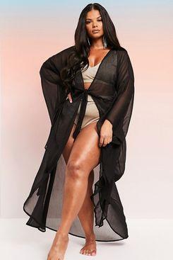 ASOS curve maxi beach kimono with exaggerated sleeves