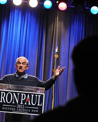 Republican presidential candidate, U.S. Rep. Ron Paul (R-TX) speaks during a campaign rally at the Grand Sierra Hotel on February 2, 2012 in Reno, Nevada. Paul is campaigning ahead of Nevada's caucus on February 4.