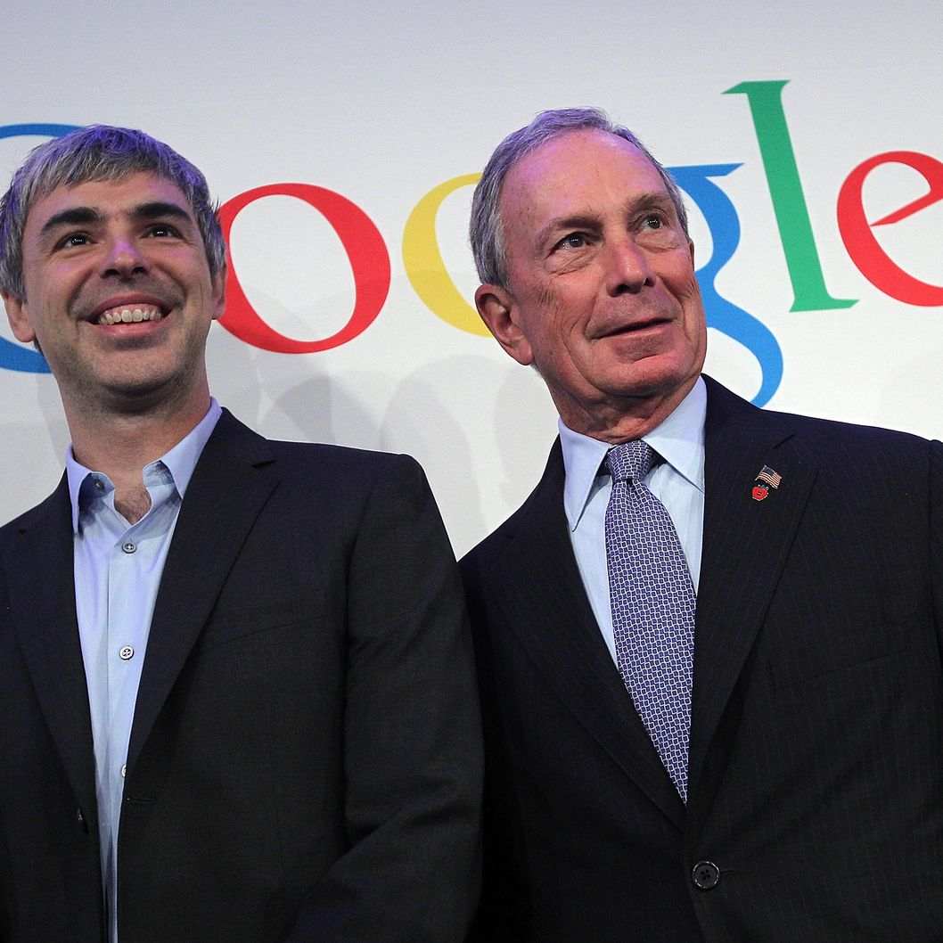 New York City Mayor Michael Bloomberg (R) and Google co-founder and CEO Larry Page pose for a photograph after a news conference at the Google offices on May 21, 2012 in New York City. Google announced today that it will allocate 22,000 square feet of space in its New York headquarters to CornellNYC Tech while the university completes its new campus on Roosevelt Island.
