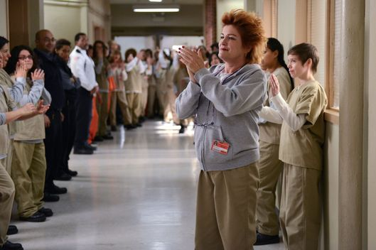 "Kate Mulgrew (C) in a scene from Netflix's ""Orange is the New Black"" Season 2. Photo credit: Ali Goldstein for Netflix."