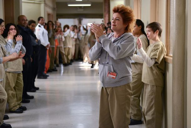 "Kate Mulgrew (C) in a scene from Netflix's ""Orange is the New Black"" Season 2. Photo credit: Ali Goldstein for Netflix."