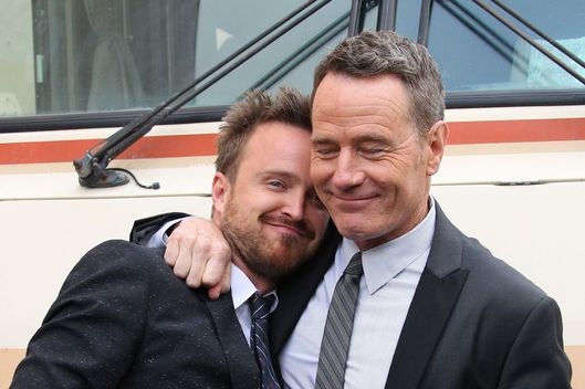 "Bryan Cranston and Aaron Paul attend the ""Breaking Bad"" Los Angeles Premiere at Sony Pictures Studios on July 24, 2013 in Culver City, California."