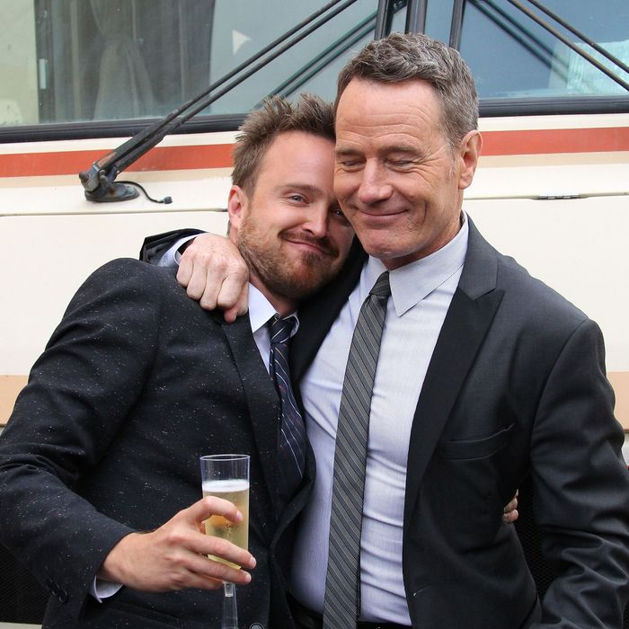 Bryan Cranston and Aaron Paul attend the