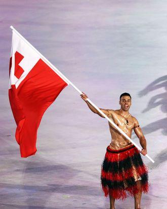 Tonga flag bearer Pita Taufatofua