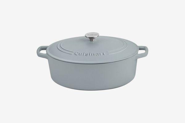 Cuisinart Oval Cast Iron Casserole, Matte Grey, 7-Qt.