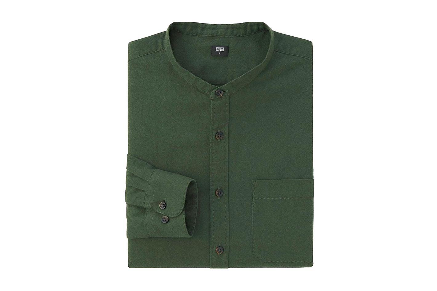 Men's Flannel Stand Collar Long Sleeve Shirt