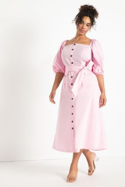 Eloquii Puff Sleeve Dress with Pocket Detail