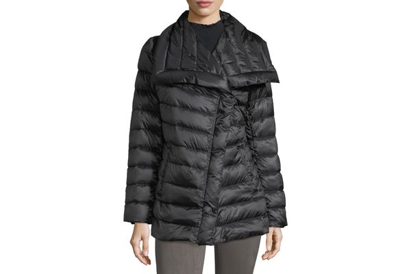 T Tahari Asymmetric-Collar Mid-Weight Puffer Jacket