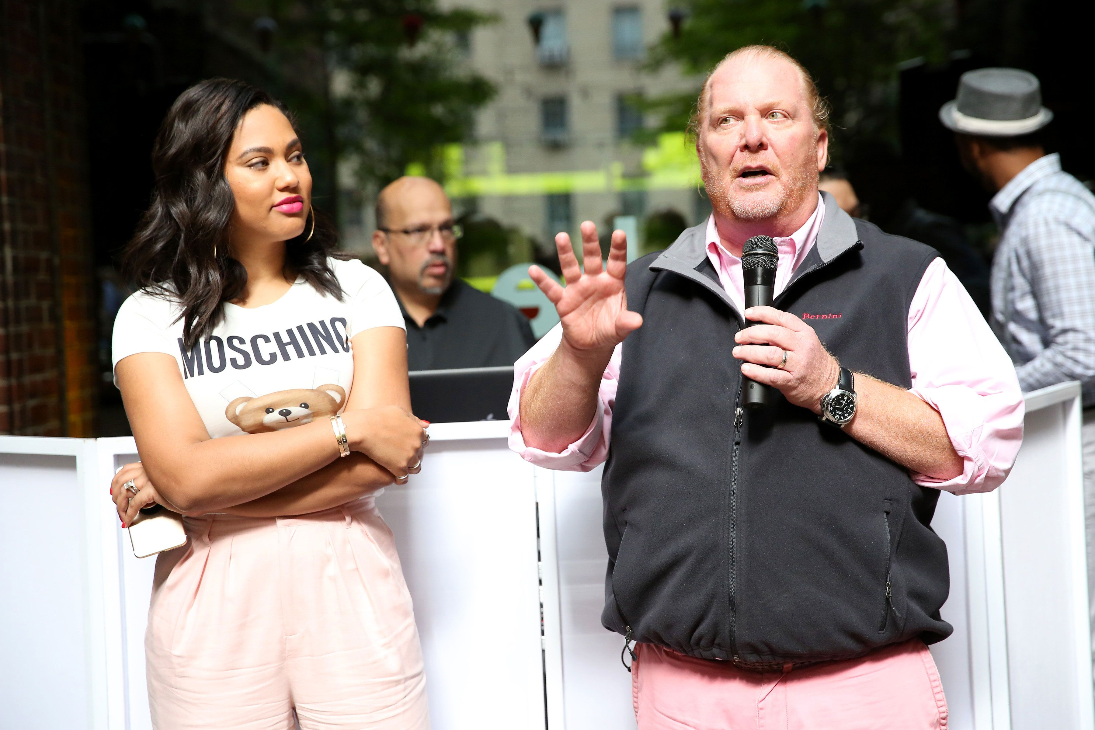 Television Personality Ayesha Curry and Chef Mario Batali speak during Family Ice Cream Fun-dae hosted by Mario Batali and Ayesha Curry at Private Park at Hudson on October 14, 2017 in New York City.