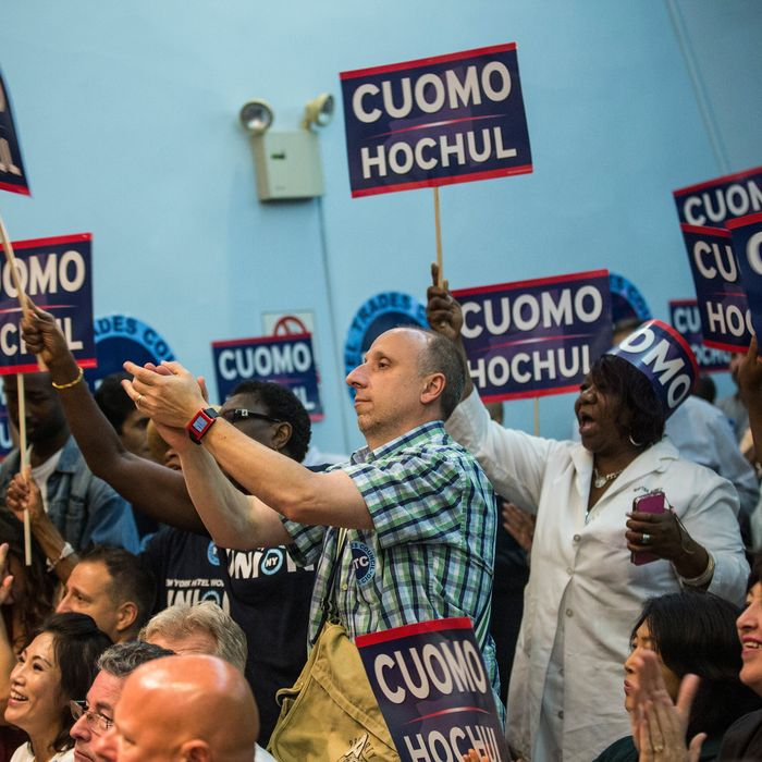 NEW YORK, NY - SEPTEMBER 08: Hotel workers cheer for New York Governor Andrew Cuomo at the Hotel Trade Council during a reelection campaign event on September 8, 2014 in New York City. New York State voters will vote in the primary election tomorrow, September 9; Governor Cuomo is hoping to beat out unexpected challenger Zephyr Teachout to gain the democratic bid. (Photo by Andrew Burton/Getty Images)