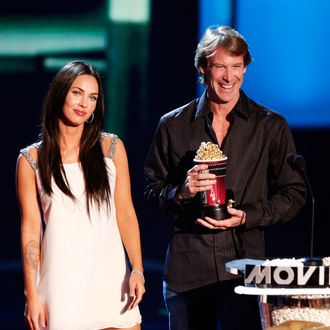 UNIVERSAL CITY, CA - JUNE 01: Actress Megan Fox (L) and director Michael Bay accept the award for Best Movie for