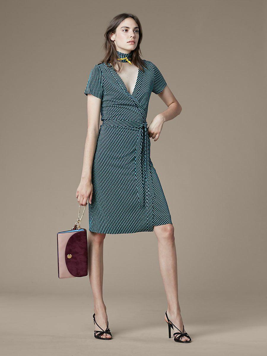 Julian Short-Sleeve Wrap Dress, Elba Black