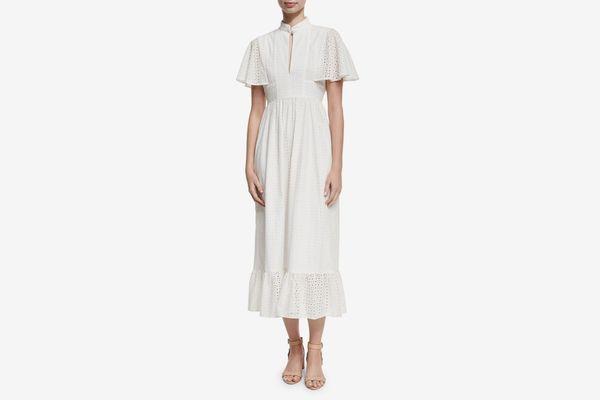 Alexa Chung Frill Hem Eyelet Cape Dress