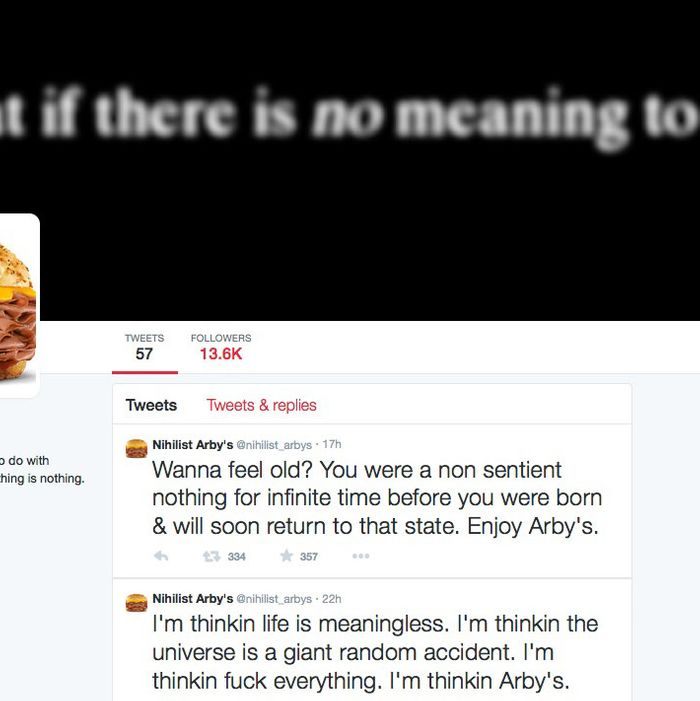 the nihilist arby s twitter account is dominating the actual