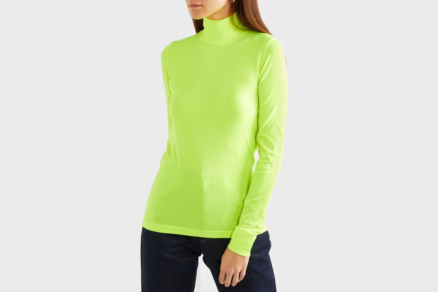 Les Rêveries Neon stretch-knit turtleneck top