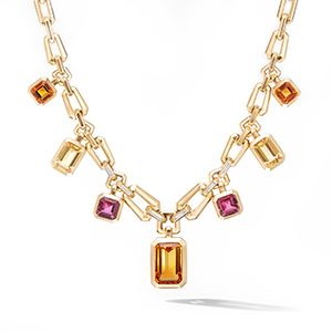 Novella Fringe Necklace with Madeira Citrine and Diamonds