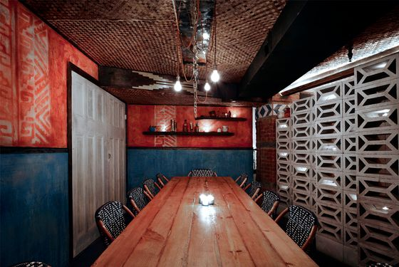 Pulqueria's sexy private table can be reserved for shindigs.