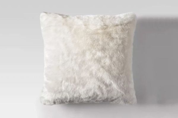 Threshold Cream Faux Fur Oversized Throw Pillow