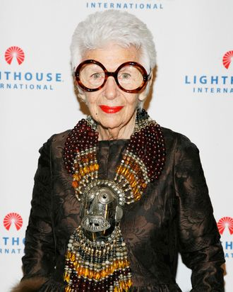 Iris Apfel and enormous necklace.