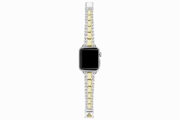 Lagos 18K Yellow Gold & Sterling Silver Smart Caviar Smartwatch Strap