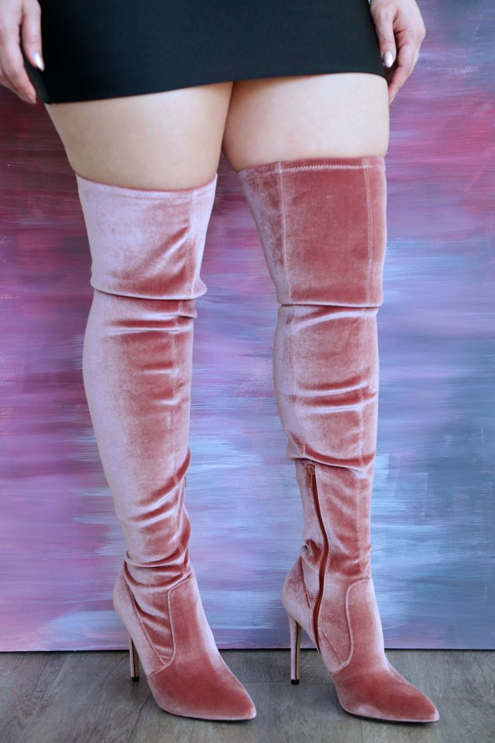 2bd4fa7b87b5 The brand consistently delivers high-quality, affordable shoes. Recently,  they've released some super stretchy velvet thigh-highs in a variety of  colors ...