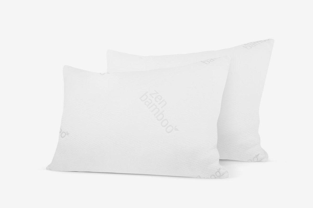 Zen Bamboo Ultra Plush Gel Pillow - (2 Pack Queen) Premium Gel Fiber Pillow