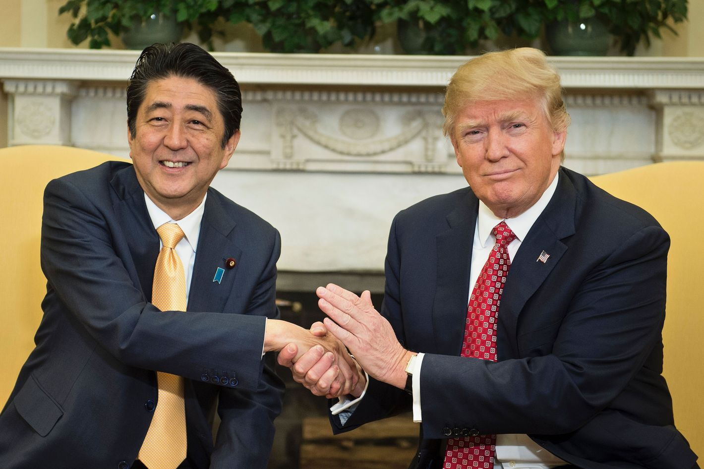 Donald Trump And Japan Pm Shinzo Abe Have Awkward Handshake