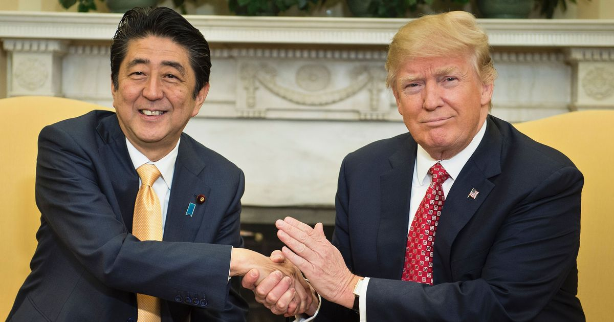 Image result for trump and abe handshake
