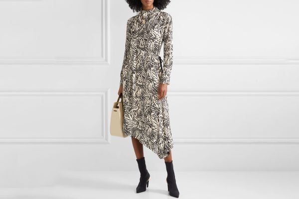 Proenza Schouler Asymmetric Printed Crepe Midi Dress