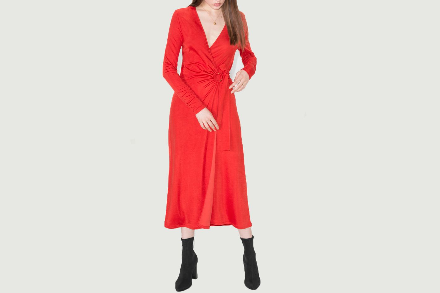 & Other Stories O-Ring Belted Midi Dress