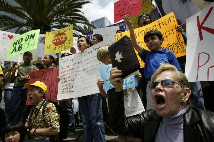 An anti-gay rally on May 18, 2004 in Los Angeles, California.