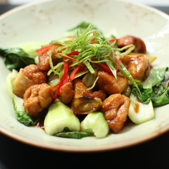 General Tso's sweetbreads with leeks, orange, and chilies.