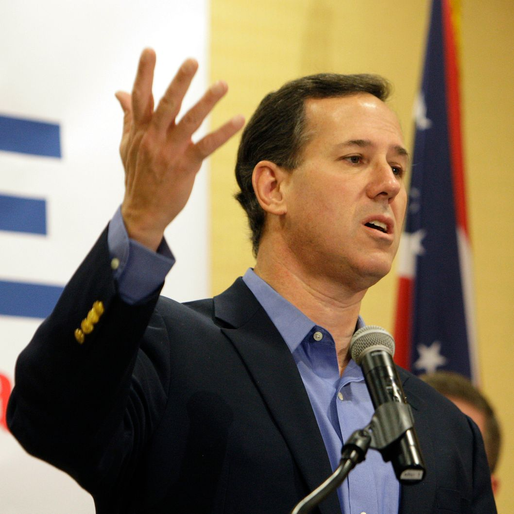 COLUMBUS, OH - FEBRUARY 18:  Republican presidential candidate and former U.S. Sen. Rick Santorum speaks during a Tea Party rally February 18, 2012 in Columbus, Ohio. Santorum is campaigning in Ohio ahead of the March 6 state primary.  (Photo by Jay LaPrete/Getty Images)
