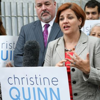 Christine Quinn campaigns in the 2013 New York City Mayoral Race in the Upper West Side on August 28, 2013 in New York City.