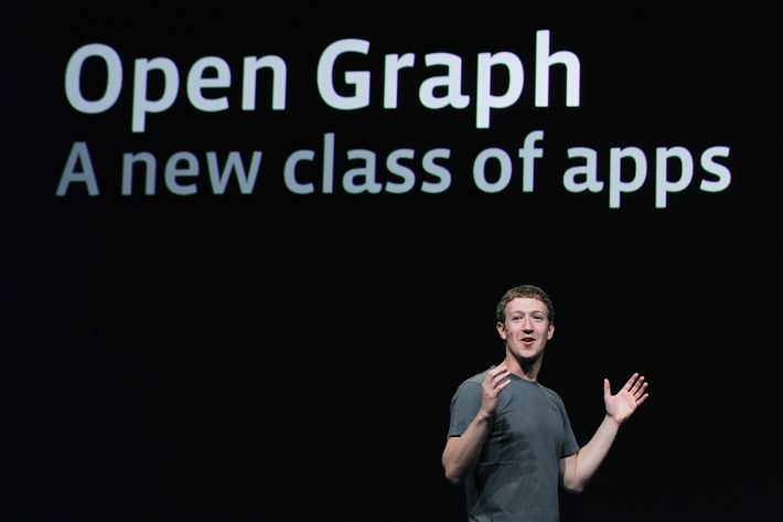 Facebook CEO Mark Zuckerberg announces Open Graph as he delivers a keynote address during the Facebook f8 conference on September 22, 2011 in San Francisco, California. Facebook CEO Mark Zuckerberg kicked off the conference introducing a Timeline feature to the popular social network.