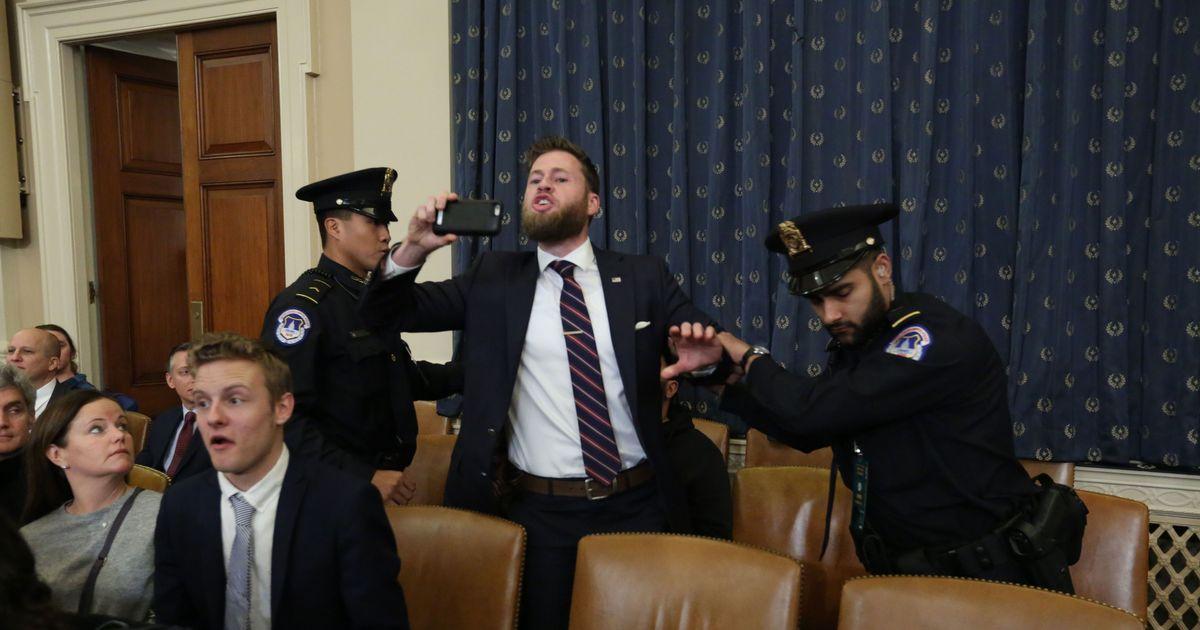 Protester Shouting 'Treason' Interrupts Impeachment Hearing