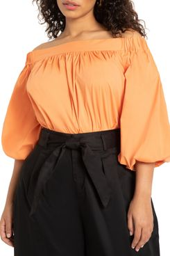 Eloquii Off-the-Shoulder Balloon-Sleeve Blouse