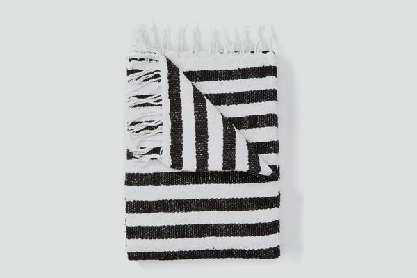 Corduroy California Black & White Stripe Throw