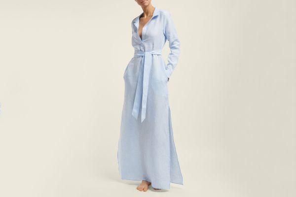 POUR LES FEMMESBelted linen shirtdress