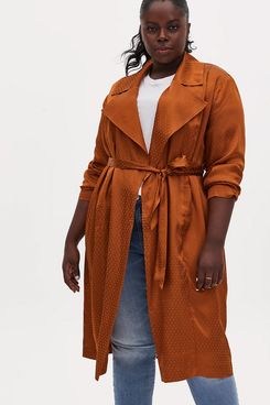 Torrid Copper Dotted Jacquard Self Tie Trench Jacket