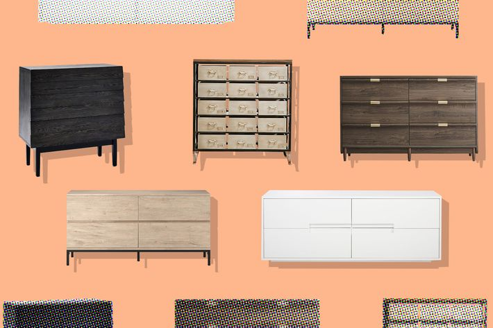 collage of west elm louvered 3 drawer dresser, loring 3 drawer dresser in vintage oak, latitude white low dresser, urban outfitters industrial storage dresser, and broadridge 6 drawer double dresser - strategist best home decor and best dressers under $500