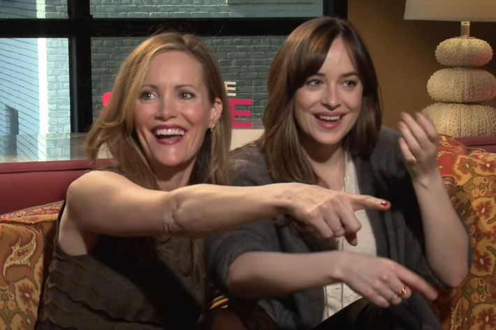 Leslie Mann and Dakota Johnson, showcasing the lethal power of complimenting a man.