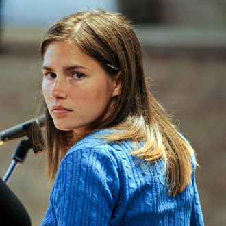 Jailed suspect Amanda Knox attends a murder trial session in Perugia April 18, 2009. Defendants Knox and Raffaele Sollecito are on trial for the murder of British student Meredith Kercher in November 2007.